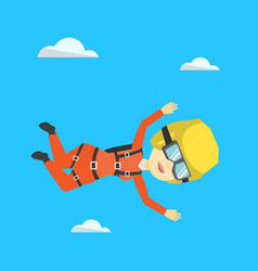 Asian parachutist jumping with parachute vector