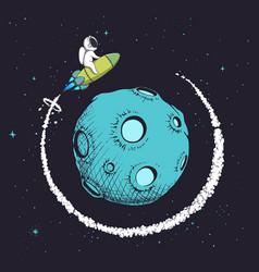 Astronaut flying uround orbit planet vector
