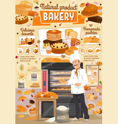 bakery bread and desserts baker shop vector image