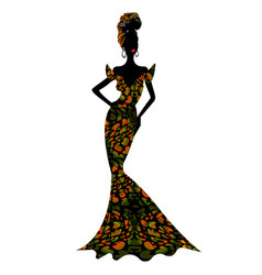 Beautiful african woman in typical afro clothing vector