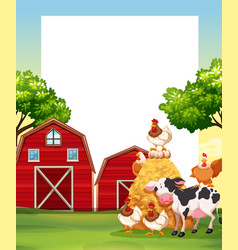 Border template with animals in the farm vector