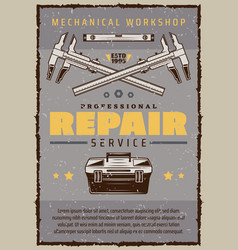 Car repair service poster with mechanic toolbox vector