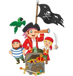 Cartoon Little kids trapped in area of the treasur vector image