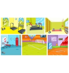 Cartoon set of backgrounds - sport infrastructure vector