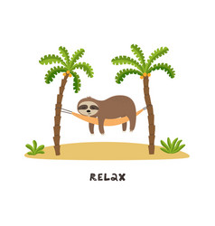 cartoon sloth is sleeping in hammock under palm vector image