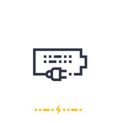 Charging battery icon on white linear vector