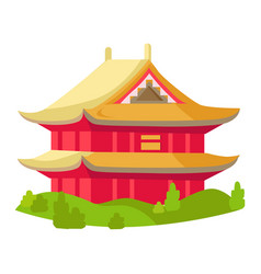 chinese red building with yellow roof isolated vector image vector image