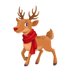 christmas celebration cartoon reindeer in scarf vector image