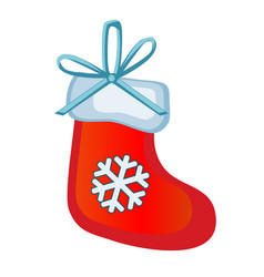 christmas toy in the form of red boots santa claus vector image
