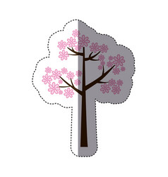 Color sticker silhouette with pink floral tree vector