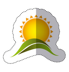 Color sticker with abstract sun over green hill vector