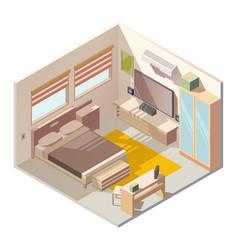 comfortable bedroom interior isometric vector image