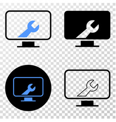 Computer settings wrench eps icon with vector