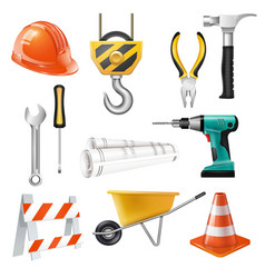 Construction realistic set vector