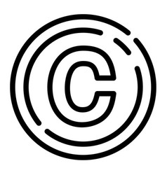 Copyright sign icon outline style vector