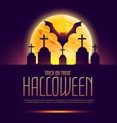 Creepy halloween background with grave and bat vector