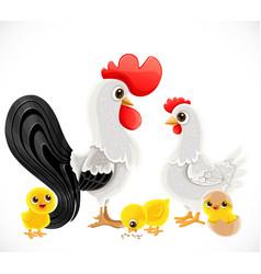cute cartoon chicken family dad cock mom chicken vector image