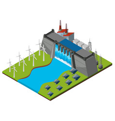 Dam with turbines and solar cells vector