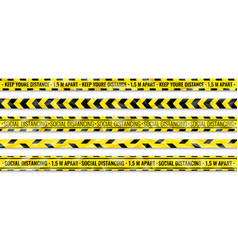 distance warning tape social distancing yellow vector image