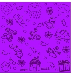 Draw house and garden doodle art vector