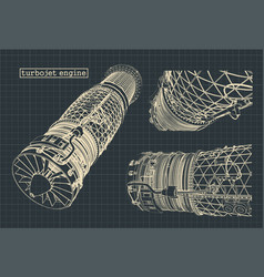 Drawings a powerful turbojet engine vector