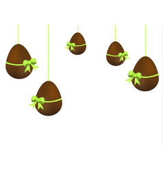 easter design hanging chocolate eggs isolated on vector image