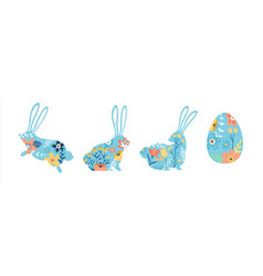 easter egg and rabbit set with spring flowers vector image