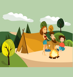 family camping concept vector image
