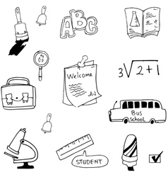 Flat Hand draw element student in doodle vector image