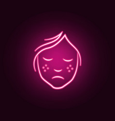 freckles on face neon icon elements of vector image