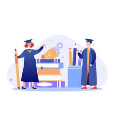Graduate people celebrate concept vector