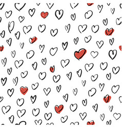 Hand Drawn Hearts Background Seamless Pattern vector