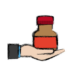Hand with bottle medicine equipment veterinary vector