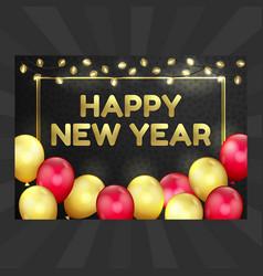 Happy new year christmas card balloons garland vector