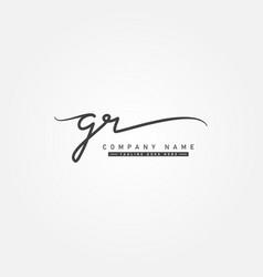 Initial letter gr logo - hand drawn signature logo vector