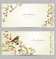Invitation cards with foliate ornament and flowers vector