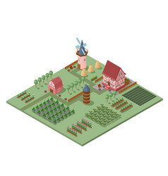 Isometric agricultural landscape template vector