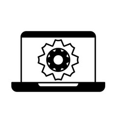 Laptop with gearwheel on white background vector