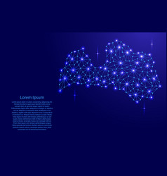 Latvia map of polygonal mosaic lines network rays vector