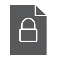 Locked file glyph icon document and computer vector