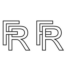 logo sign fr and rf icon sign interlaced letters r vector image