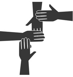 monochrome silhouette hands teamwork icon design vector image