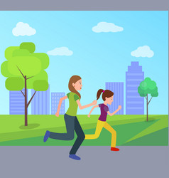 mother daughter jogging together city park vector image