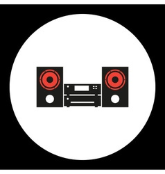 Music aparture simple isolated black and red icon vector