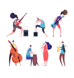 music band cartoon musicians punk guys vector image