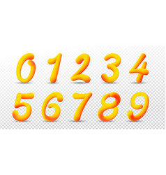 number 0-9 in 3d style with gradient vivid colors vector image