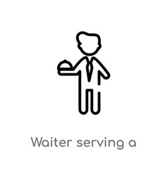 Outline waiter serving a drink on a tray icon vector