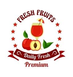 Peach fruit with juice icon for farm market design vector