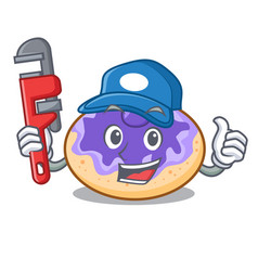 Plumber donut blueberry mascot cartoon vector