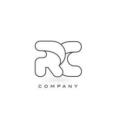 Rc monogram letter logo with thin black monogram vector